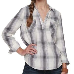 🆕 Mudd Juniors Plaid Deep V-neck Tunic Shirt Sml